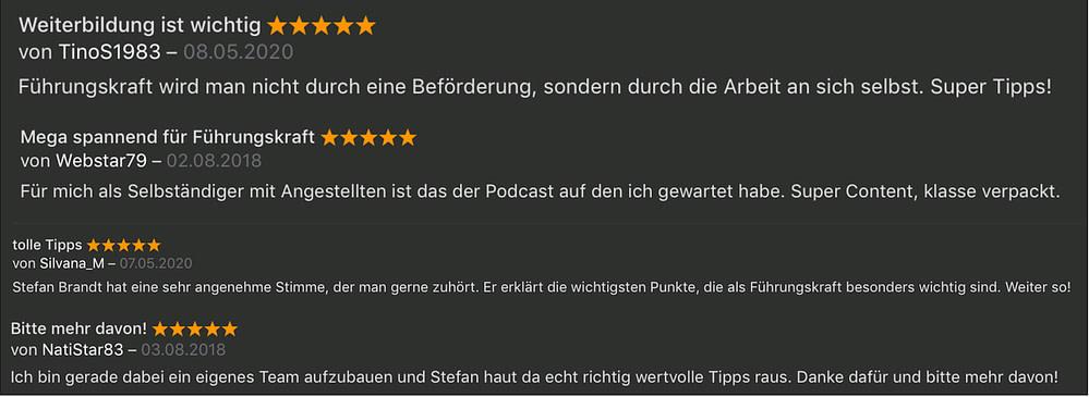Podcast In Führung gehen - Kundenstimmen